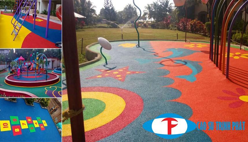 Thảm cao su lót sàn sân chơi cho các bé